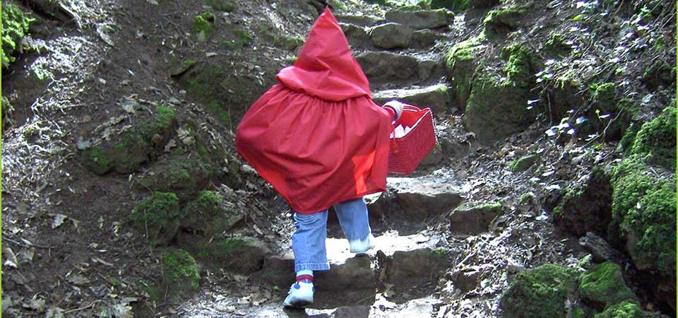 Christmas at Puzzlewood with Little Red Riding Hood and Santa